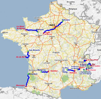 Etapy Tour de France roller